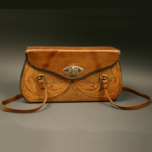 Purse Two Straps Tooled Leather