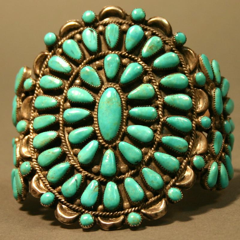 Bracelet Cuff American Indian Navajo Kingman Turquoise C 1950s